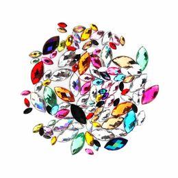 Canada Tailles mélangées Acrylique de cristal de couleur mixte Forme d'oeil de cheval en strass Décorez Nail art Dos plat Marquise Earth Facet décoratif supplier acrylic decorative nails Offre