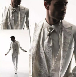 Wholesale White Pants For Men Cheap - Classy White Wedding Tuxedos Slim Fit Suits For Men Embroidery Groomsmen Suit Three Pieces Cheap Prom Formal Suits (Jacket +Pants+vest)