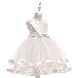 Vestido de cinta grande online-2019 nuevas muchachas de la flor de trajes de princesa con cuentas cuello redondo vestido de la torta bola cinta estilo del vestido de los niños grandes de partido del desgaste / de la boda