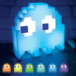 Wholesale Color Changing Baby Night Light - Color Changing Cartoon Ghost Lamp Led Mini USB Night Light 8-bit mood light Pixel Style Child Baby Soft Lamp Bedroom Lighting