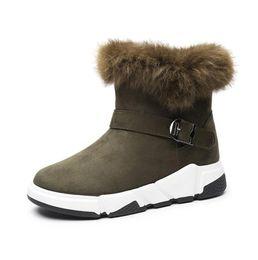 2019 kalbhaarstiefel 2018 Mode Kaninchen Haar Winterstiefel Frauen Schnee Stiefel Plattform Winter Schuhe Warm Pelz Boot Mitte Kalb Hinzufügen Wolle Damenschuhe günstig kalbhaarstiefel