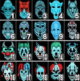 2019 forro frio Halloween EL Wire Cold Light Line Ghost Mask pintado a mano LED fiesta Cosplay Masquerade Street Dance Halloween Rave Toy 15pcs AAA1166 forro frio baratos