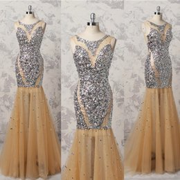Wholesale Sequin Bling Cap - Bling Bling Shinning Beaded Prom Dresses 2018 Champagne Mermaid Evening Gowns Floor Length Sexy Backless Formal Party Dress Custom Made
