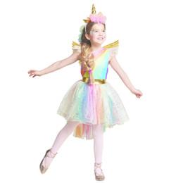 barato adulto animal trajes Desconto Vestido das meninas do arco-íris unicórnio partido com headband halloween cosplay de natal crianças 2018 summer dress party