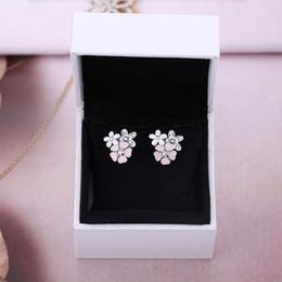 Fiori di smalto per gioielli online-100% 925 d'argento di colore rosa degli orecchini dello smalto del fiore con Stud orecchino di monili PANDORA fascino per il regalo di San Valentino Donne