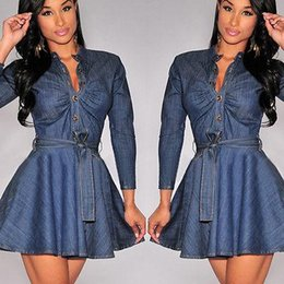 Wholesale Dress Jean Women - Bowknot Belt Long Sleeve Dresses Fashion Women Slim Fit Denim Jean Dress Plus Size