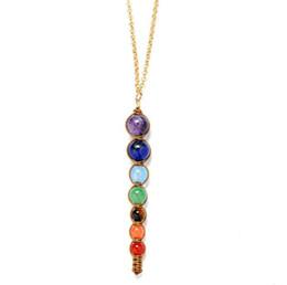 Deutschland Wholesale-Multicolor Lava 7 Chakra Healing Balance Perlen Halskette Frauen Halsketten Anhänger Reiki Spirituelle Yoga Schmuck Anhänger Halskette supplier spiritual pendants wholesale Versorgung