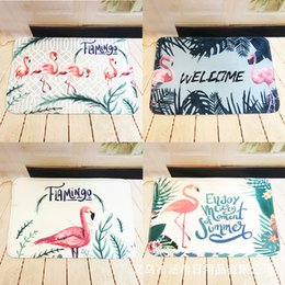 Wholesale pad 11 - Flannel Printing Mat Doormat Bedroom Living Room Kitchen Thickening Water Uptake Carpet Botany Green Pads Customizable 11 5hx2 gg