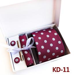 Wholesale Tie Gift Box Packaging - 3.35inch (8 Cm)men Business Tie Wedding Normal Wide Arrow Dot Men Tie Handkerchief, Pin and Cufflinks Gift Box Packaging
