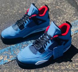 Wholesale x men logo - 2018 Latest Travis x 4 Houston Men Basketball Shoes 4s University Blue suede White midsole Red Cactus logo mens designer sneakers