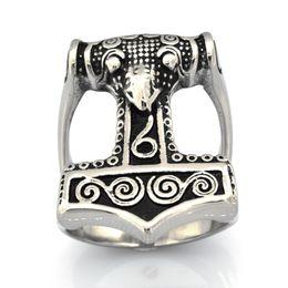 Стальные сплит-кольца онлайн-Старинные мужские или wemens ювелирные изделия на заказ из нержавеющей стали викинг SPLIT SHANK THORS HAMMER RING TOOL RING FSR15W00