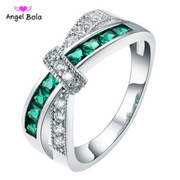 Wholesale unique couple - 925 Silver Unique Rings Top Quality Trendy Design Green And White AAA CZ Multicolor Rings Fit Girls Jewelry