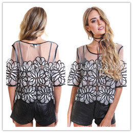 Wholesale Womens Black Shirt Embroidery - 2018 Summer New Womens t shirts Sexy Tops Tees hollow out mesh Flower embroidery lace short sleeved T-shirt