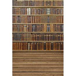 2019 fond d'écran Vintage Books Bookshelf School Décors en vinyle pour la photographie Saison Saison Enfants Enfants Photo Studio Arrière-plans Plancher en bois fond d'écran pas cher