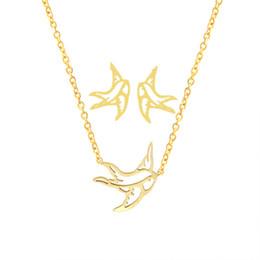 colgante de trago de oro Rebajas Flying Origami Swallow Stud Pendientes Collar Colgante Hombres Mujeres Oro Conjuntos de Joyas Acero Inoxidable Animal Brinco Feminino Schmuck