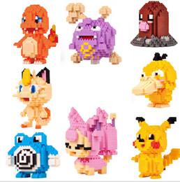 12 modelos de figuras de diamante brinquedos Pikachu Charmander Bulbasaur Squirtle Charizard Eevee criança presente de natal Anime blocos de construção de