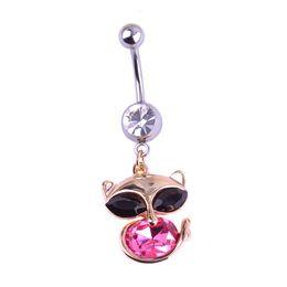 Blucome Liquidation 2,99 $ Fox Shape Piercing Anneau de nombril Dangle Ombligo Women Strass Sexy Body Jewelry Animal Bijoux ? partir de fabricateur