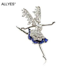 Tschechische brosche online-ALLYES Shiny Czech Crystal Wings Engel Ballett Tänzer Broschen für Frauen Trendy Silber Farbe Anzug Kleid Emaille Pin Brosche Schmuck