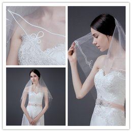 Wholesale Tulle Crochet - Cheap One Layer Crochet Short Wedding Veils 1.5 Meter Elegant Velos De Novia Beauty Wedding Accessories Real Tulle Voile Maria Free Shipping