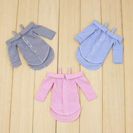 Wholesale toys doll girl sexy - Free shipping for blyth doll icy licca long shirt pink grey blue sexy outfit clothes gift toy 1 6 30cm