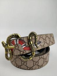 Cinturón de cuero con diseño de serpiente y cinturón de cuero con diseño de serpiente de nueva moda, neutro, con correa de cuero, botón de 3.8 cm de ancho. desde fabricantes