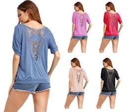 59cacdb61b2ea Jolies femmes Top chemises en coton mélangé col rond manches chauve-souris  dos dentelle à empiècements couleur unie femmes tops chemisiers chemises B11