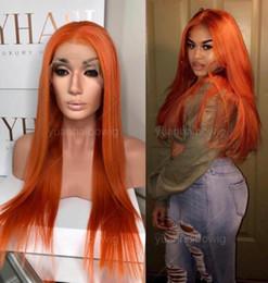 vierge chinoise cheveux raides Promotion Orange Full Lace Wig Haute Qualité Vierge Chinoise Cheveux Humains Couleur Dentelle Perruques Celebrity Wig Soie Droite Jaune Avant Lace Wig Livraison Gratuite