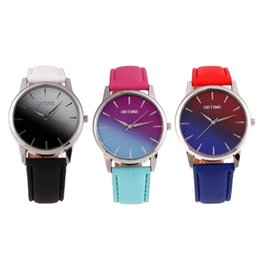 ver cambios de color Rebajas Reloj de los amantes Relojes para mujer Cambio de color Reloj de pulsera Reloj de señora de cuero Casual reloj mujer bayan saat