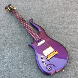 Wholesale guitar single coil - Left Handed Diamond Series Prince Metallic Purple Cloud Electric Guitar Maple Body & Neck, Gold Symbol Inlay, Single Coil & EMG White Pickup