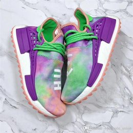 Wholesale Flash Sneakers - Pharrell X 2088ADIDAS NMD Hu Trail Holi Running Shoes For Men Womne Chalk Coral Flash Green-Lab Purple Authentic Sneakers With Original Box