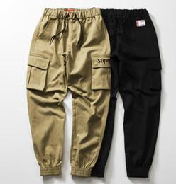 Pantalon spandex en Ligne-Mens 18ss Marque Designer Jogger Pantalones Sup Lettres Poches Cargo Pants Pantalon Adolescent
