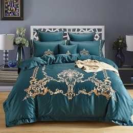 Wholesale Silk Sheets Double - Oriental Embroidered Bedding set 100% Egyptian Cotton Silk Luxury Royal Bed set Duvet Cover Bed Sheet Double King Queen size