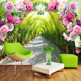 Wholesale flower wallpapers high quality - Custom 3D Photo Wallpaper Nature Landscape Flowers Trail High Quality Wall Mural Living Room Background Modern Home Decoration