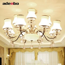 Wholesale Chandeliers Shades Crystals - New Luxury Modern Crystal Chandeliers LED Living Room Chandelier Lighting Fixtures Gold Plated Hanging Lights With Glass Shade