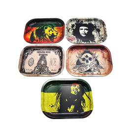 Wholesale roll case - Metal Tobacco Rolling Tray 17cm*13cm*1.8cm Handroller Rolling Trays Rolling Case Machine Tools Tobacco Smoking Storage Tray