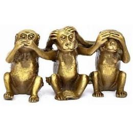 Wholesale Feng Shui Year - FENG SHUI Three wise monkeys hear see speak no evil 3 monkey