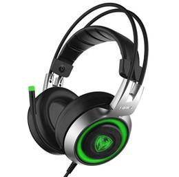 Kopfhörer 7.1 vibration online-Professionelle Gaming Kopfhörer HIFI Vibration Spiel Headset LED-Licht Mit Mikrofon USB 7.1 Kanal für LOL DOTA Computer Esports