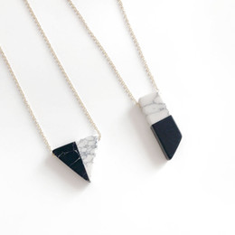 Wholesale Mixed Geometric Necklace - Free Shipping New Natural Black And White Stone Mixed Color Geometric Pendant Necklace Wholesale Jewelry For Women