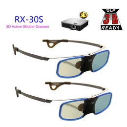 Wholesale Optoma 3d For Glasses - 2pcs x 3D DLP Projector TV Aluminum Active Shutter Glasses with Clip for Myope For Optoma LG BenQ Acer (RX-30S)