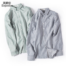 Блузки осень новый длинный рукав онлайн-Enjeolon  new fall striped shirt Men casual shirts man Blouse cotton Long Sleeve shirts Men 3XL Clothes CXCY2372
