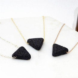 Wholesale rose diffuser oil - 12pcs lot Lava stone Triangle necklace Essential Oil Diffuser Necklace Gold Silver Rose Gold Aromatherapy on the go necklace
