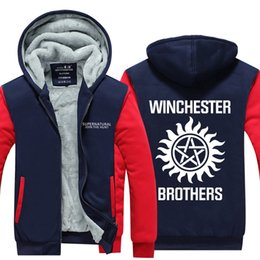 cba9fd080 Men Velvet Thicken Hooded Sweatshirts Supernatural Winchester Bros Zipper  Hoodies Winter Cardigan Jacket Coat Pullover USA EU Size Plus Size