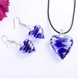 Wholesale wedding jewelry sets royal blue - Royal Blue Heart Murano Glass Statement Necklaces &Fashion Earrings Women Choker Wedding Jewelry Sets Mothers Day Gifts Wedding Decoration