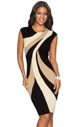 Vestido de oficina Dama de trabajo Funda Taupe Acentos Colorblock Patrón geométrico Tubo delgado Vestido de lápiz Vestidos Mujer 610026 desde fabricantes