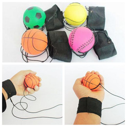 Palle da polso online-63mm Throwing Bouncy Ball Rubber Wrist Band Bouncing Balls Kids Funny Elastic Reaction Training Balls Antistress Toys CCA9629 100pcs