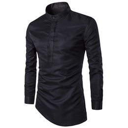 Wholesale Wholesale Men Dress Shirts - 2017 Fashion Mens Shirt Nightclubs Style Oblique Hem Camisa Social Masculina Men Slim Fit Sexy Club Wearing Chemise Homme M-3XL