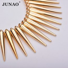 rhinestone spikes studs Australia - JUNAO 100pc 5*35mm Sewing Gold Silver Cone Rhinestones Plastic Decoration Rivet Large Spikes Studs for Leather Clothes