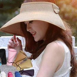 Brand 2019 Spring Summer Visors Cap Foldable Wide Large Brim Sun Hat Beach Hats for Women Straw Hat Wholesale