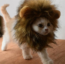 Wholesale Lion Wigs Dogs - Lion Mane Wig for Little Dog and Cat Costume Pet Adjustable Costume Dress UP