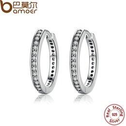 Wholesale Deals Sterling Silver Jewelry - Wholesale-2017 BLACK FRIDAY DEALS 925 Sterling Silver CZ Simple Female Hoop Earrings Jewelry for Women Sterling Silver Jewelry PAS456